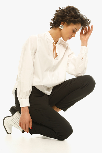 witte blouse OPUS met brede mouwen