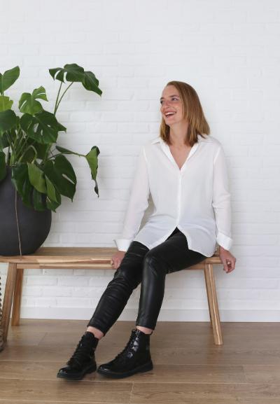 Pantalon noir en similicuir– slim fit