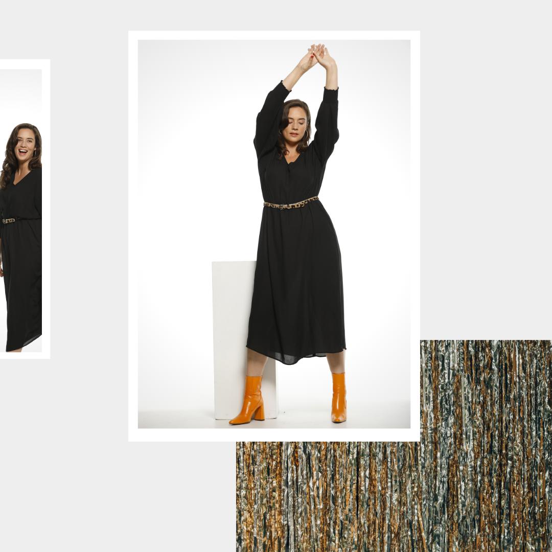 Robe longue noire avec col en V Zizzi femme