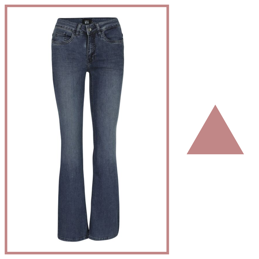 donkerblauwe jeans flared fit simple wish e5 mode