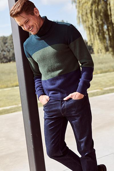 trui met rolkraag groen donkerblauw heren Upper East