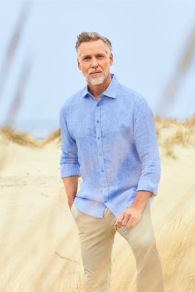 zomers linnen hemd blauw voor heren zomercollectie