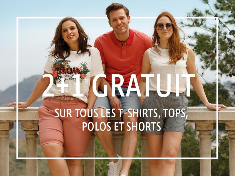 2+1 gratuit sur tous les T-shirts, tops, polos et shorts