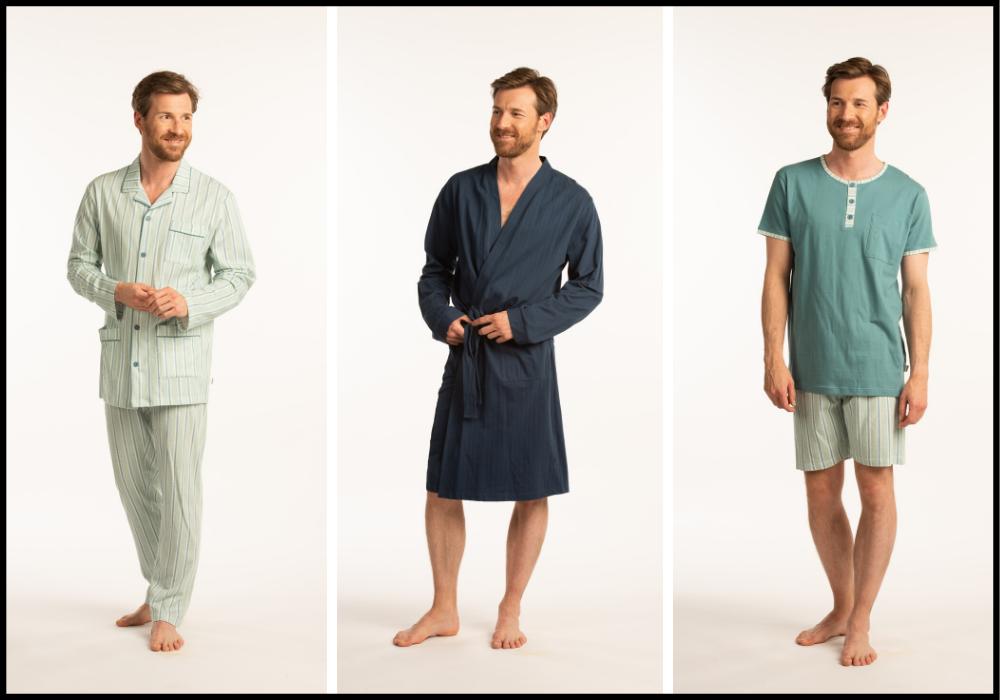 heren pyjama badjas sleepwear blauwe tinten 3 outfits
