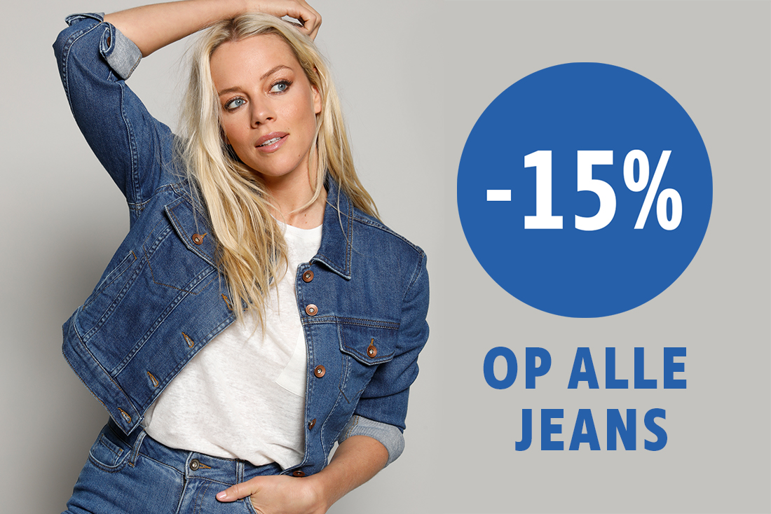 jeansactie 15% korting op alle jeans