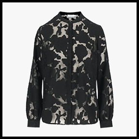 zwart kanten doorschijnende blouse