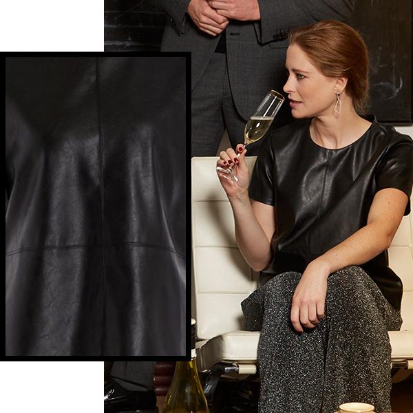 opus zwarte leren blouse