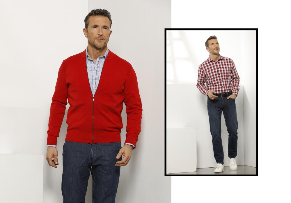 Rode trui dansaert blue ruiten hemd rode tinten met jeans