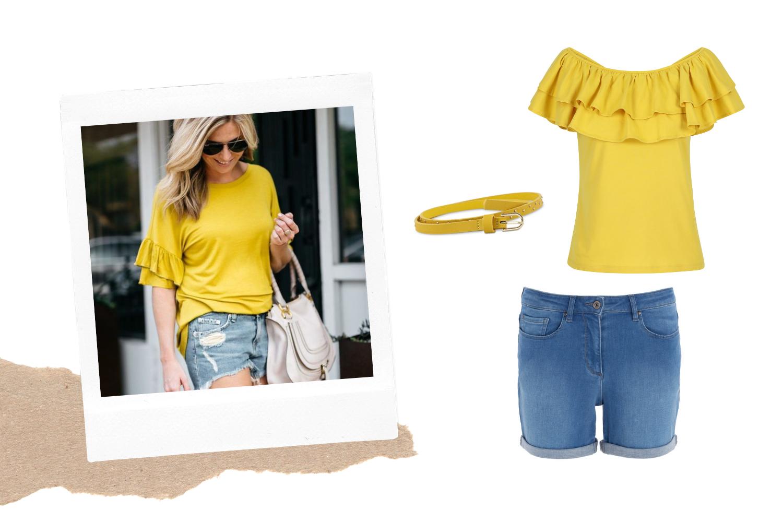 Glamoureuze top en jeansshort